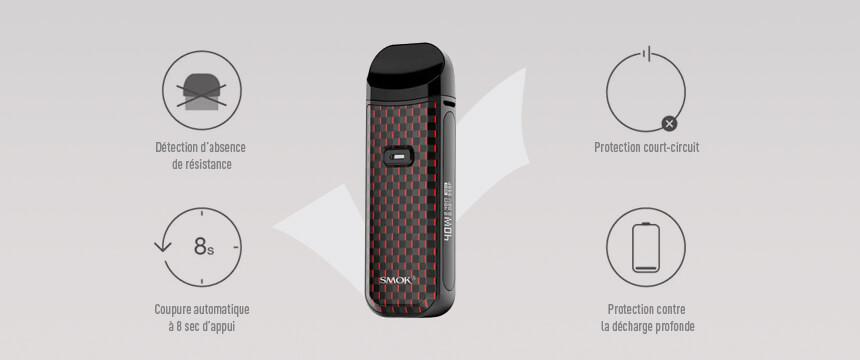 La cigarette électronique Nord Pod 2 integre toutes les sécuritées.