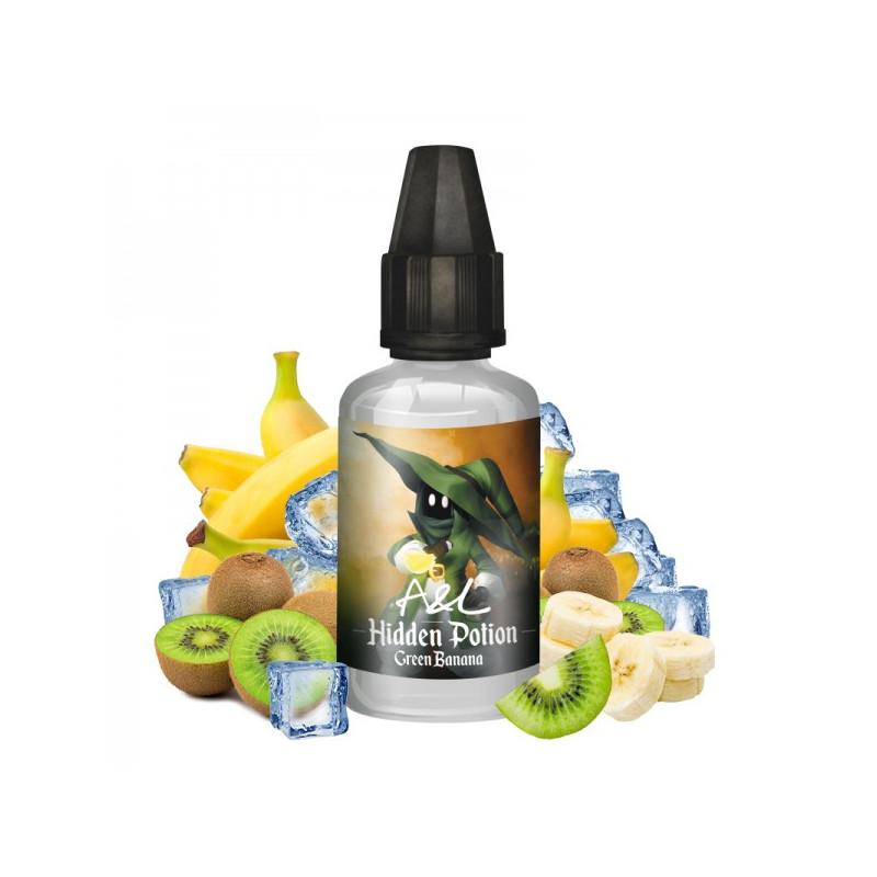 Photo du flacon de l'arôme concentré Green Banana 30ml de la marque Hidden Potion fabriqué par Arômes et Liquides.