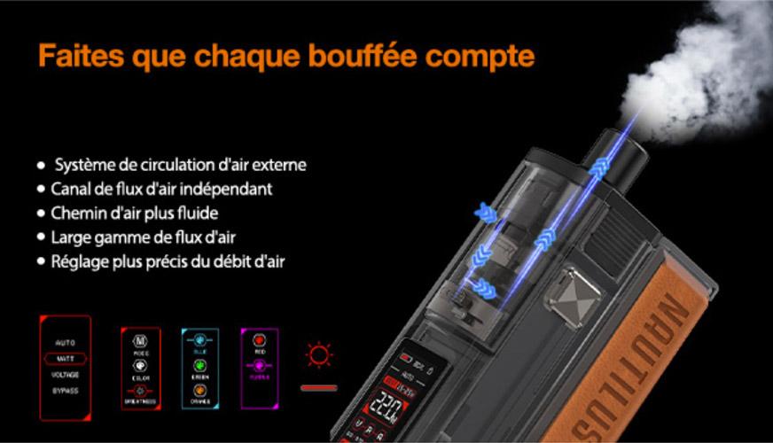 Le système d'arrivée et de flux d'air du kit cigarette électronique Pod Nautilus Prime X.