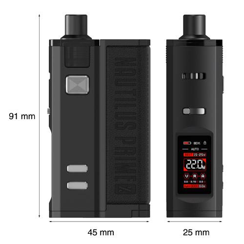 Dimensions des kits de cigarettes électroniques Pod Nautilus Prime X d'Aspire.