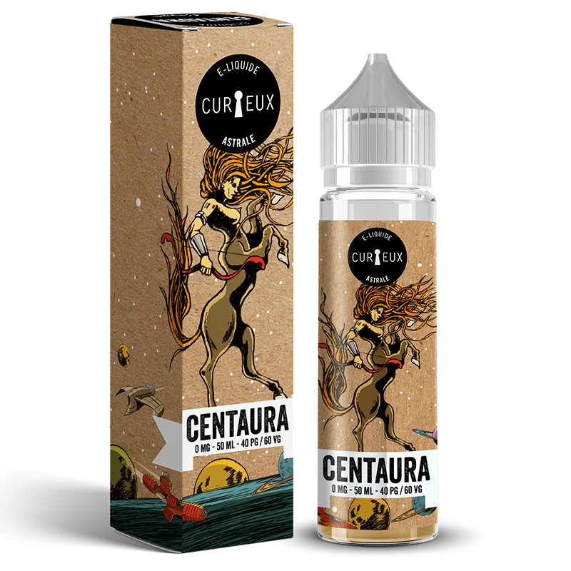 Eliquide Centaura de l'édition Astrale par la marque française Curieux E-liquides.
