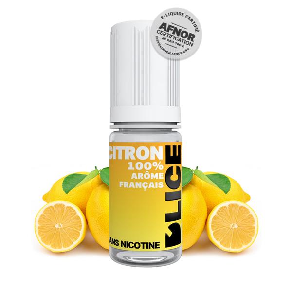 Photo du flacon du citron 10 ml de Dlice, marque française de e-liquide.