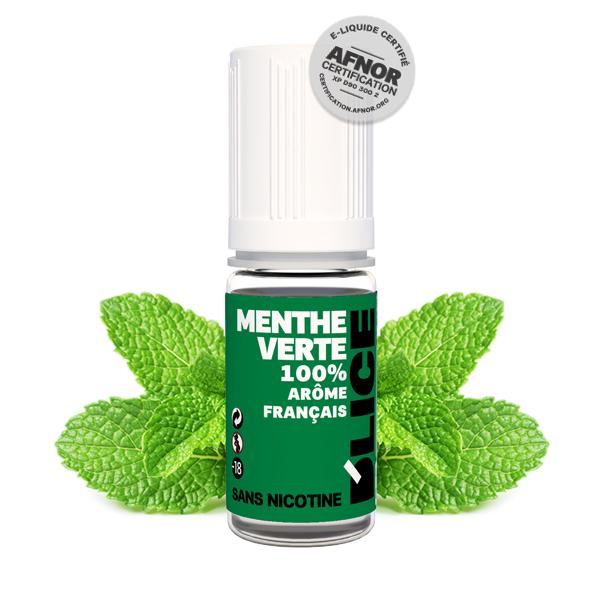 Photo du flacon du Menthe Verte 10 ml de Dlice, marque française de e-liquide.