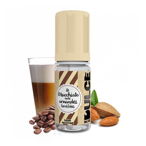Photo du flacon du Macchiato Amandes Grillées 10 ml de Dulce D'lice, marque française de e-liquide.