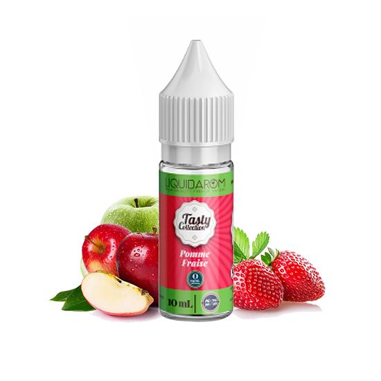Photo du flacon du e-liquide Pomme Fraise de la gamme Tasty Collection par Liquidarom en 10 ml.