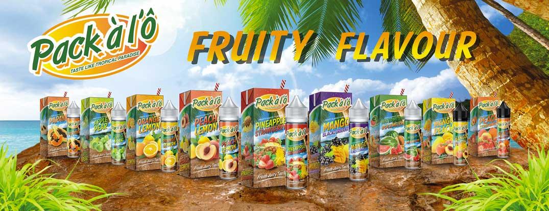 Bannière de la marque malaisienne de e-liquides aux goûts fruités.