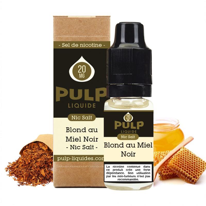Flacon du eliquide Blond au Miel Noir sel de nicotine de Pulp, fabricant français de eliquide pour le vapotage..