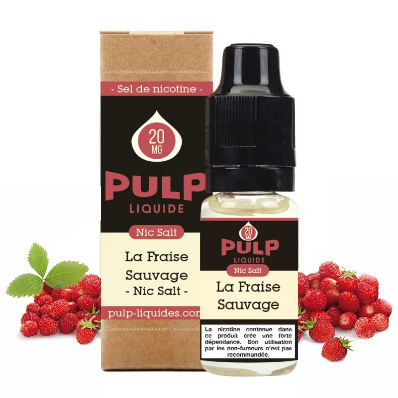 Flacon du eliquide La Fraise Sauvage sel de nicotine de Pulp, fabricant français de eliquide pour le vapotage..