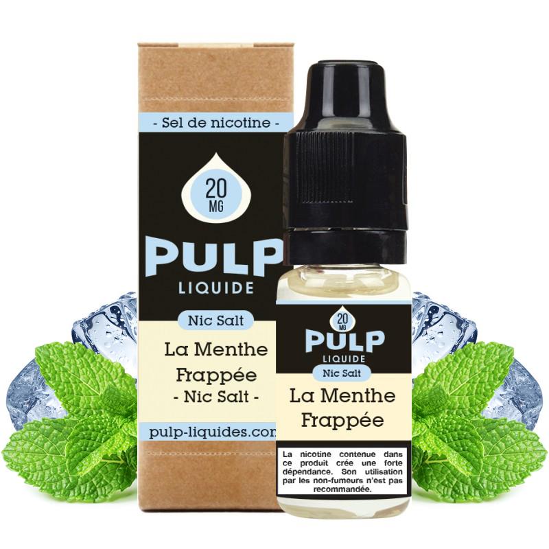 Flacon du eliquide La Menthe Frappée sel de nicotine de Pulp, fabricant français de eliquide pour le vapotage..