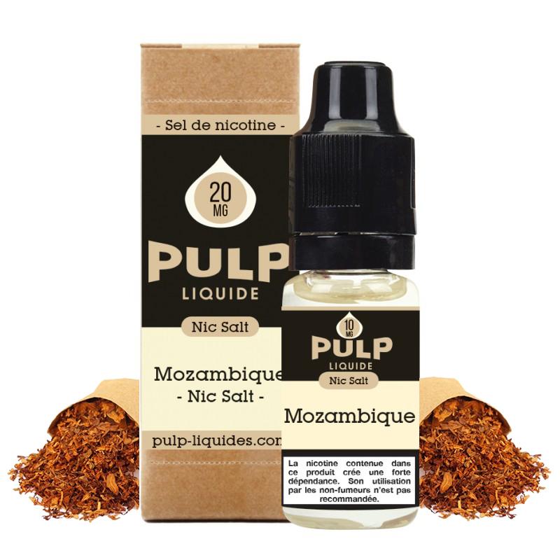 Flacon du eliquide Mozambique sel de nicotine de Pulp, fabricant français de eliquide pour le vapotage..