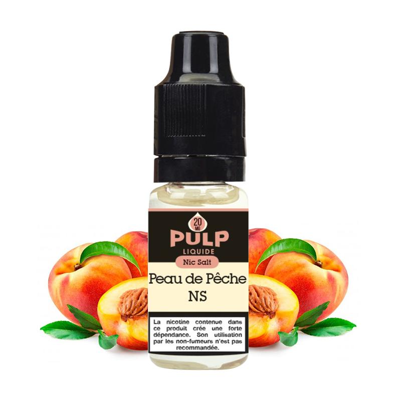 Flacon du eliquide Peau de Pêche sel de nicotine de Pulp, fabricant français de eliquide pour le vapotage..