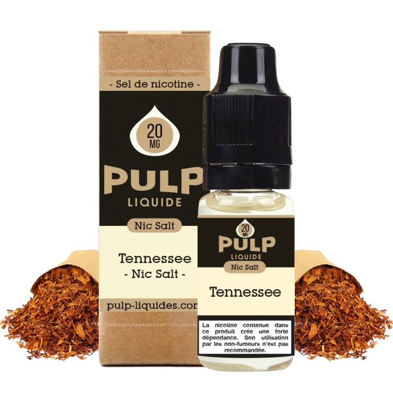 Flacon du eliquide Tennessee sel de nicotine de Pulp, fabricant français de eliquide pour le vapotage..