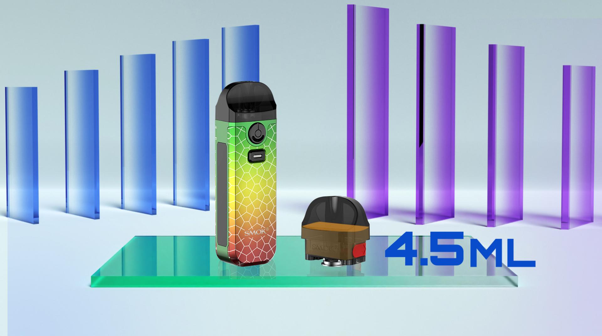 Les cartouches du Nord 4 et leur contenance en e-liquide.