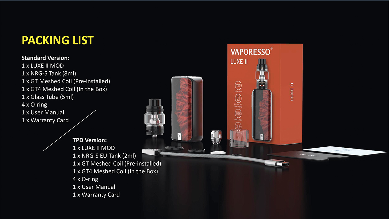 Photo du packaging du Kit Luxe 2 de Vaporesso, box électronique 220W double accu et clearomiseur NRG-S.