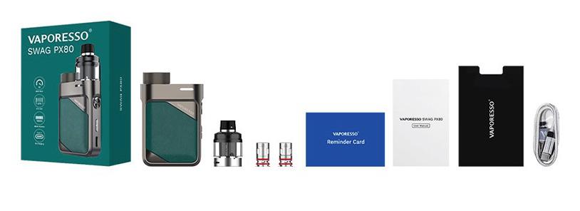 Packaging du kit pod Swag PX80 par le fabricant Vaporesso.