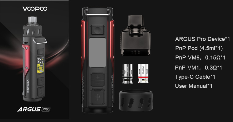 Packaging du kit pod mod Argus Pro par le fabricant de cigarette électronique Voopoo.