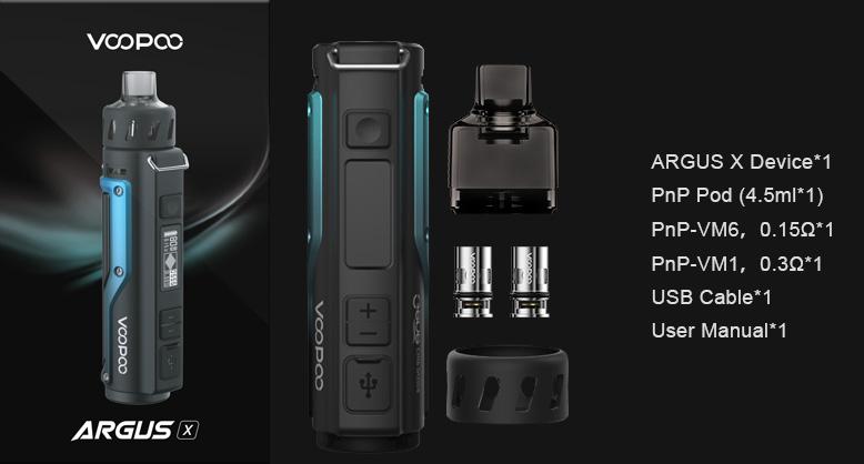 Packaging du kit pod mod Argus X par le fabricant de cigarette électronique Voopoo.