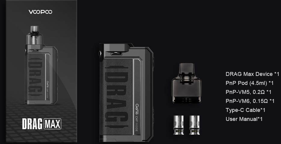 Présentation du contenu du packaging du kit Pod Drag Max par Voopoo.