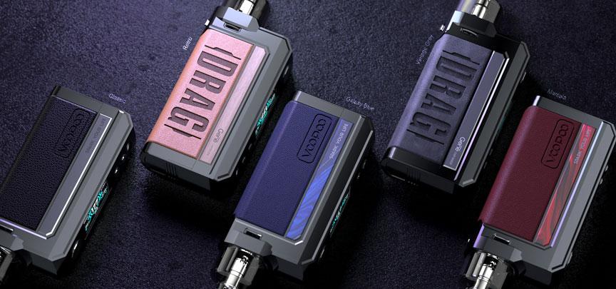 Présentation des différentes déclinaisons des kits de cigarettes électroniques Pod Drag Max par Voopoo.